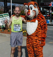Exxon tiger wishes Ray luck --- photo by Carolyn McCorquodale