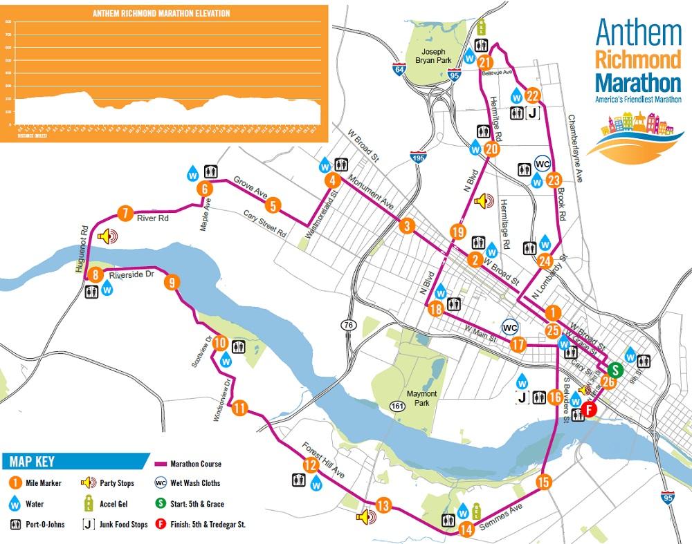 Richmond Marathon course map