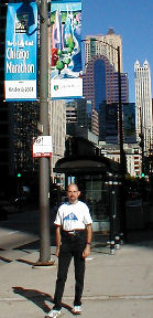 Ray under Chicago Marathon banner