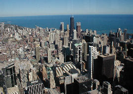 North view of Chicago and Lake Michigan