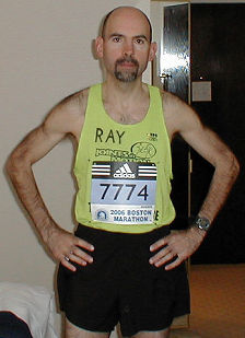 Ray ready to leave hotel room