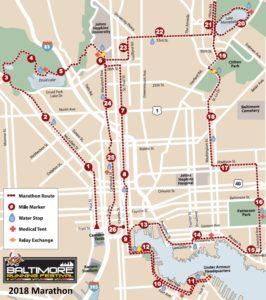 Baltimore Marathon course map